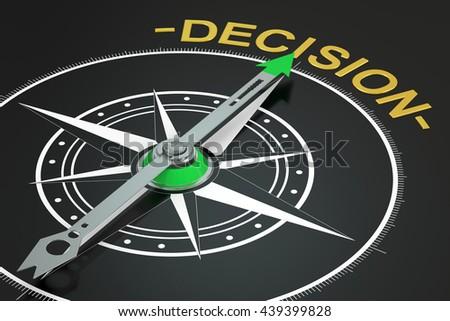 Decision compass concept, 3D rendering - stock photo
