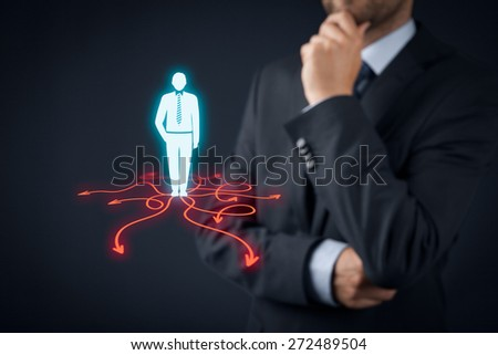Decision making (management decisions) - select the best business way (direction) to future.  - stock photo