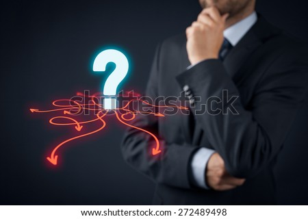 Decision making (management decisions) - select the best business way (opportunity) to future. - stock photo