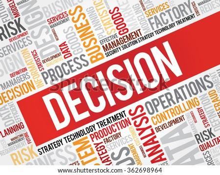 DECISION word cloud, business concept - stock photo