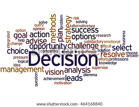 Decision, word cloud concept on white background.