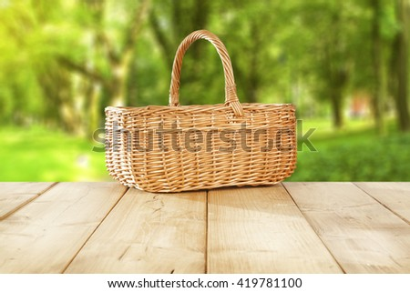 deck and basket and free place  - stock photo