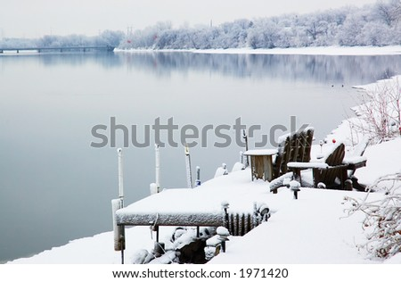 Deck and chair overlook Mississippi river. More with keyword group1