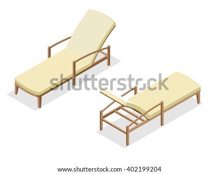 Deck chair, Beach chaise longue, Sun lounger, Deckchairs, Beach Chair, sunbed. Beach chairs isolated on white background. Wooden beach chaise longue Flat 3d isometric illustration. - stock photo