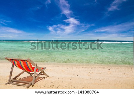 Deck chair on the beach at Nang yuan island , Thailand - stock photo