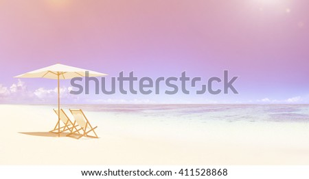 Deck chair on the tropical beach. - stock photo