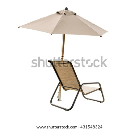 deck chair with beach umbrella isolated on white background - stock photo