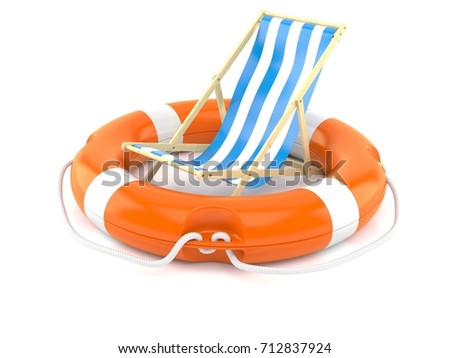 deck chair with life buoy isolated on white background 3d