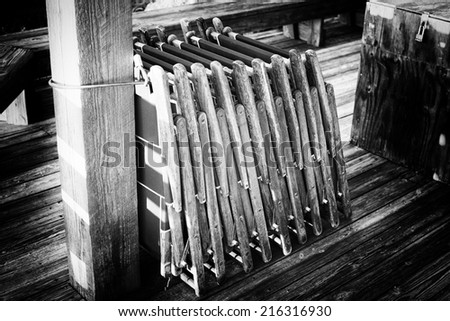 Deck Chairs folded in St. Augustine, Florida, USA. - stock photo