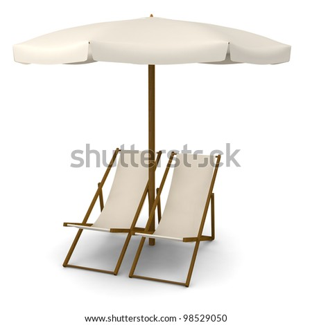 Deck chairs with beach umbrella - stock photo