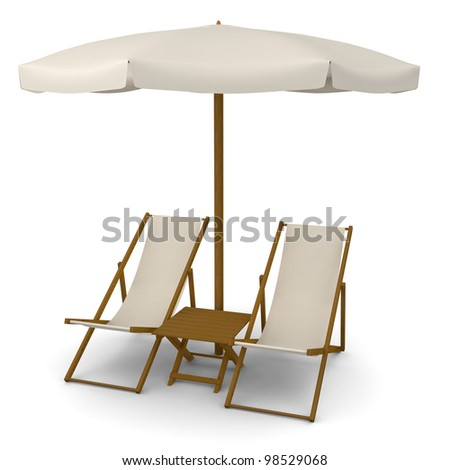 Deck chairs with beach umbrella and table - stock photo