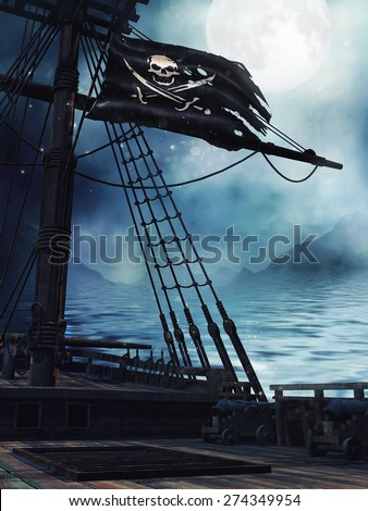 Deck of a pirate ship with the black flag at night - stock photo