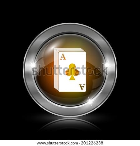 Deck of cards icon. Metallic internet button on black background.  - stock photo
