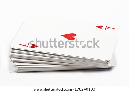 Deck of playing cards with the ace at the top isolated on white background - stock photo