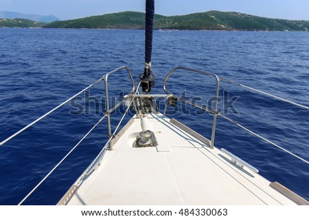 Deck of sailboat, Lefkada island, Greece