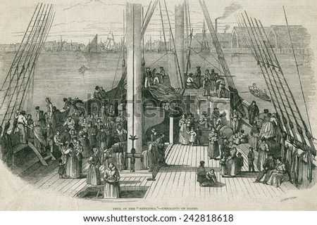 Deck of the immigrant ship 'Artesisia' in a harbor in Europe or North America. Ca. 1855. - stock photo