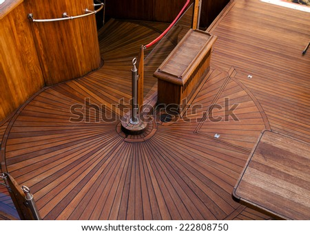 deck of the ship natural wood background - stock photo