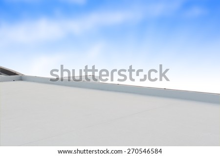 deck or terrace on rooftop of business building and blue sky with copy space background - stock photo