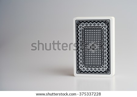 deck playing cards back side - stock photo
