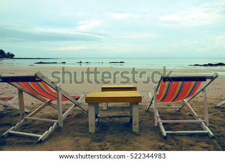 Deckchairs On Beach Vintage Style.Concept relax tourism