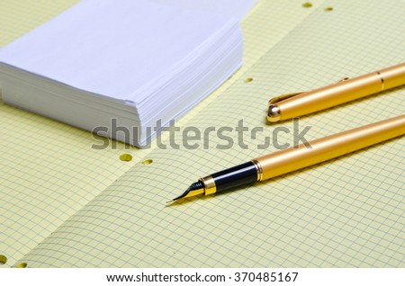 declaration of love. confessions of love. white note paper and golden pen, school notebook with pen,  crumpled sheets with entries