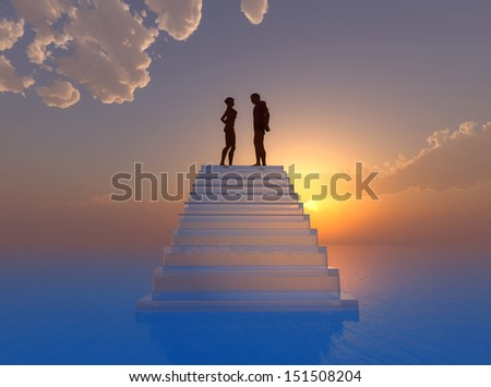 Declaration of love.Couple floating on cloud nine - stock photo