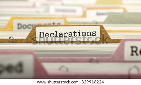 Declarations Concept on Folder Register in Multicolor Card Index. Closeup View. Selective Focus. - stock photo