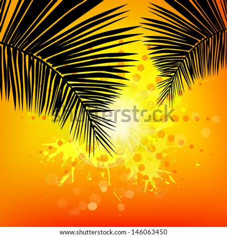 decline on the sea with palm trees. Raster - stock photo