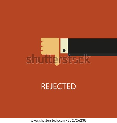 Declined illustration. Hand with thumb down. Negative concept - stock photo