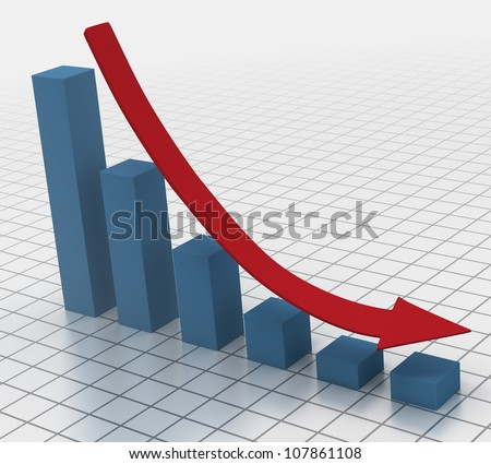 Declining bar chart with arrow 3D render of falling bar chart with red arrow showing the decline - stock photo