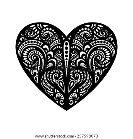 Deco Abstract Heart. Hand Drawing Patterned Design