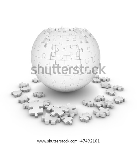 Decomposed sphere of puzzle on white background