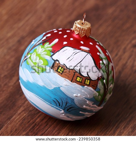 decorate Christmas ball over wooden background/Christmas decoration over wooden background - stock photo