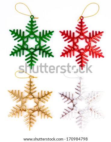 Decorate christmas tree on isolated white background - stock photo