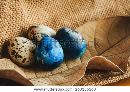 decorate of easter eggs with leaf on cloth texture background. - stock photo