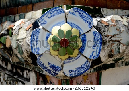 Decorate outside with chinese pottery at Wat Arun in bangkok