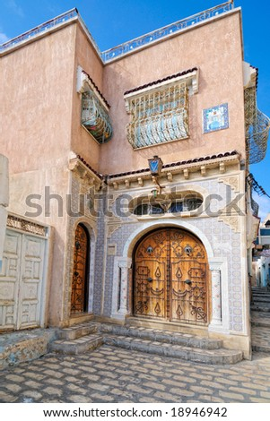 Decorated arabic style house entrance, Tunisia, Africa - stock photo