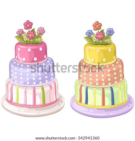 Decorated birthday cake - stock photo