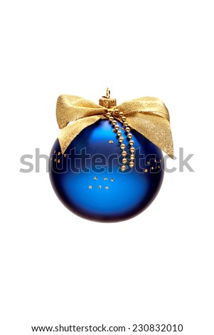 Decorated blue Christmas ball with a bow isolated on white background