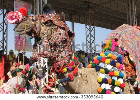 Decorated Camel at the Pushker Camel Fair, India