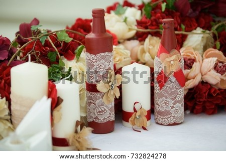 Decorated candle for wedding celebration