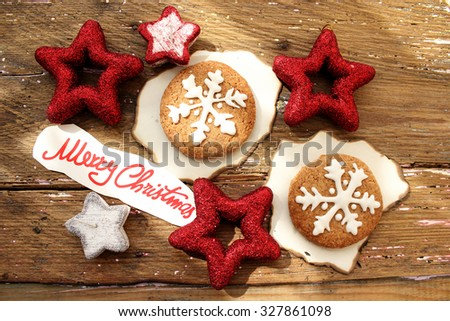 Decorated Christmas cookies - stock photo