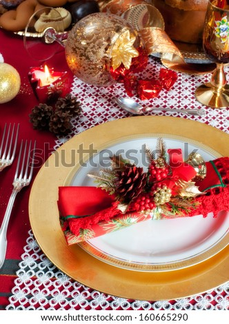 Decorated Christmas Dinner Table with studio lighting