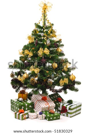decorated Christmas fir tree with gifts on white - stock photo