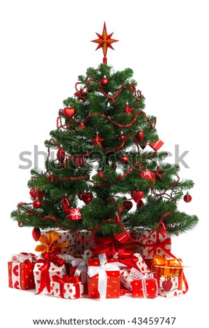 decorated Christmas fir tree with heap of red gift boxes on wnite