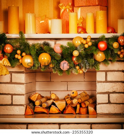 Decorated Christmas fireplace - stock photo