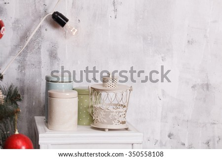 Decorated Christmas interior - stock photo