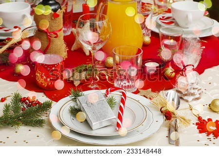 decorated christmas table - stock photo