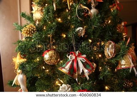 Decorated Christmas tree - stock photo