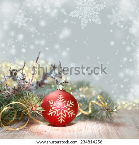Decorated Christmas tree and red bauble, copy space  - stock photo